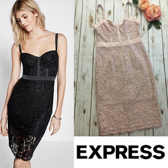 5a0c3803 Express Dresses & Skirts - EXPRESS blush stretch lace bustier dress